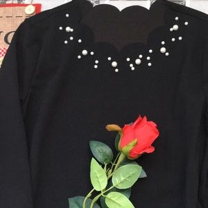 Scalloped neck blouse with pearl embellishment